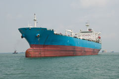 Container Ship. Standing at the anchorage offshore Singapore (OPL royalty free stock photo