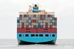 Container ship. Leaving the port of antwerp Royalty Free Stock Photos