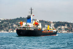 Container Ship. In Istanbul crosses the bosporus Stock Photography