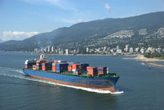 Container Ship. Steaming towards the port of Vancouver Stock Photography