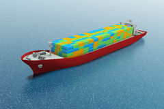 Container ship. Aerial view of container ship - digital illustration Royalty Free Stock Image