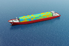 Container ship. Aerial view of container ship - digital illustration Stock Photos