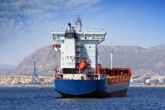 Container ship: aft view. Royalty Free Stock Images