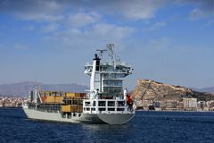 Container ship: aft view Stock Images