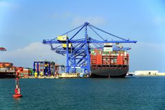 Container ship AL MURABBA docked in the containers terminal. Stock Images