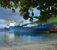 A container ship alongside the customs wharf in kingstown, st. vincent Stock Photography