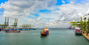 Container ship arriving port Royalty Free Stock Image