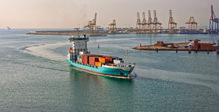 Container ship arriving port Royalty Free Stock Photos
