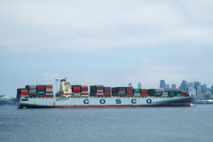 Container ship arriving in Seattle Stock Photos