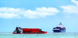 Container Ship, Barge ship transportation cargo. Barge Ship and Container ship transport cargo import & export shipping overseas Stock Photos
