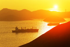 Container ship in the bay Stock Photo