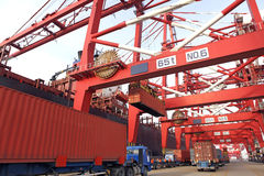 Container harbour Stock Images