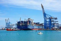Container ship in Birzebugga port, Malta. Stock Photography