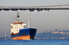 Container Ship on Bosphorus Royalty Free Stock Images