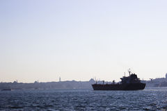 Container Ship on Bosphorus Royalty Free Stock Photos