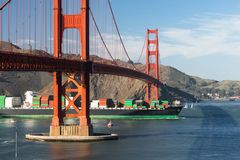 Container Ship Brings Imported Products Golden Gate Bridge San F stock photography