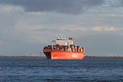 CAP SAN NICOLAS. Container ship CAP SAN NICOLAS on the river Elbe. German Hamburg Sud is part of the Danish A.P. Moller–Maersk Group since 1 December 2017 Royalty Free Stock Images