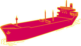 Container Ship Cargo Boat Mono Line Royalty Free Stock Photography
