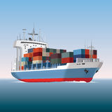 Container ship. Cargo container ship sailing. Vector illustration Stock Images