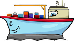 Container ship cartoon character. Cartoon Illustration of Container Ship Transport Character Royalty Free Stock Photos