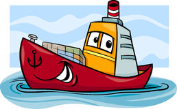 Container ship cartoon illustration Stock Images