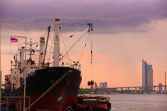 Container ship in Chao Phraya River Thailand Stock Photos