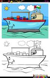 Container ship character coloring book vector illustration