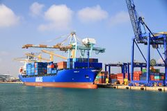 Container ship Cincia A docked in the containers terminal. Stock Images