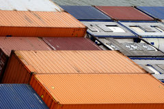 Container ship. The close-up of a container ship container via birds eye view Royalty Free Stock Image