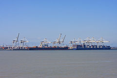 Container Ship and Cranes Royalty Free Stock Images