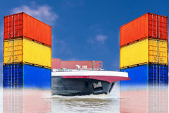 Container ship with different colored sea containers before blue Royalty Free Stock Photos