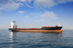 Container ship docked empty close to the port of Valencia. Royalty Free Stock Photography