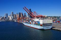 Container ship and dockyard Royalty Free Stock Photo