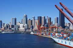 Container ship and dockyard cranes, Seattle waterfront Stock Image