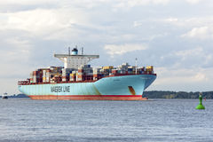 Container ship EDITH MAERSK on Elbe River Stock Image