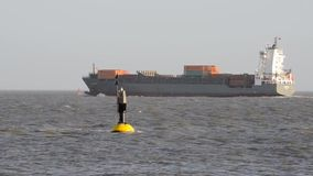 Container Ship on the Elbe stock footage