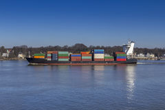 Container Ship on Elbe River Royalty Free Stock Photos