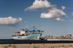 Container ship Eleonora Maersk in Gdansk Poland Royalty Free Stock Images