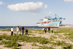 Container ship Eleonora Maersk in Gdansk Poland Stock Image