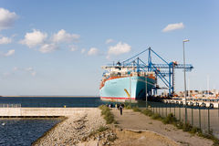 Container ship Eleonora Maersk in Gdansk Poland Royalty Free Stock Image