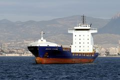 Container ship empty and anchored in Alicante bay. Royalty Free Stock Photography
