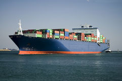Container Ship Enters Harbor Royalty Free Stock Photography