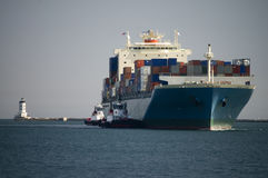 Container Ship Enters Harbor Stock Images