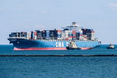 Container ship enters the port. royalty free stock photography