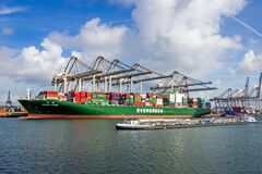 Free Container Ship Ever Lyric From Evergreen Moored At The ECT Container Terminal In The Port Of Rotterdam. September 3, 2016 Royalty Free Stock Photography - 201895297