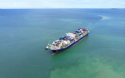 Container ship in export and import business and logistics in th Royalty Free Stock Photos