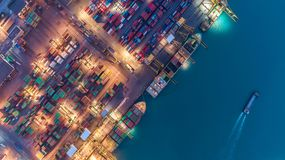 Container ship in export and import business and logistics. Ship stock photos
