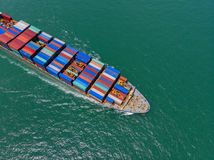Container ship in export and import business and logistics in th Stock Photos