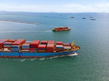 Container ship in export and import business and logistics in th Stock Photo
