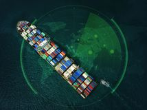 Container ship in export and import business and logistics in th royalty free stock photo
